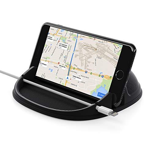 Lanhiem Support Téléphone Voiture, Anti-dérapant de Silicone Collant Fixation, Universel Support Auto Tableau de Bord Car Phone Holder pour iPhone XS XR X 8 7 Plus/Samsung/Huawei/One Plus/Sony/GPS