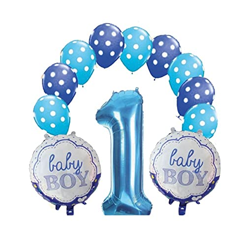 Kit de globos de primer cumpleaños para niño – 13 unidades con temática azul celeste/azul, 1 globo con forma de número, 2 globos con chupete y 10 globos clásicos