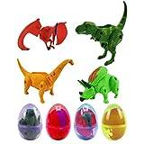 STOBOK Juego de juguetes con huevos de dinosaurio, modelo animal, de colores, figuras Stem Science Educativas, juguetes de aprendizaje para niños, cesta regalo de Pascua Stuffers Color