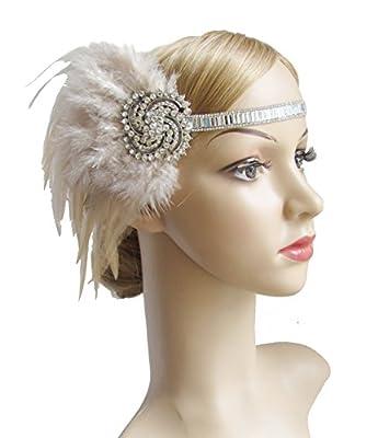 Kathyclassic 1920s Great Gatsby Flapper Headpiece Art Deco Feather Headband for Women