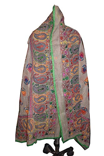 Tribal Asian Textiles Phulkari Dupatta Handsticker, Phulkari Stola, schwere Chiffon Dupatta