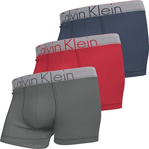 Calvin Klein Trunk 3PK Baadores Ajustados para Hombre, Plata/Sierra Ruby/Azul Marino, M