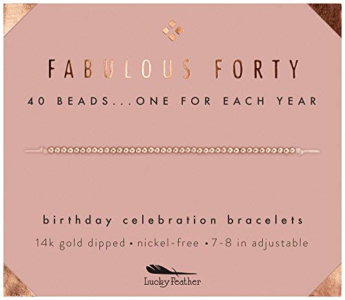 """Lucky Feather 40th Birthday Gifts for Women, 14K Rose Gold Dipped Beads Bracelet on Adjustable 7""""- 8"""" Cord - Perfect 40th Birthday Gift Ideas for Her (rose-gold-plated-base)"""