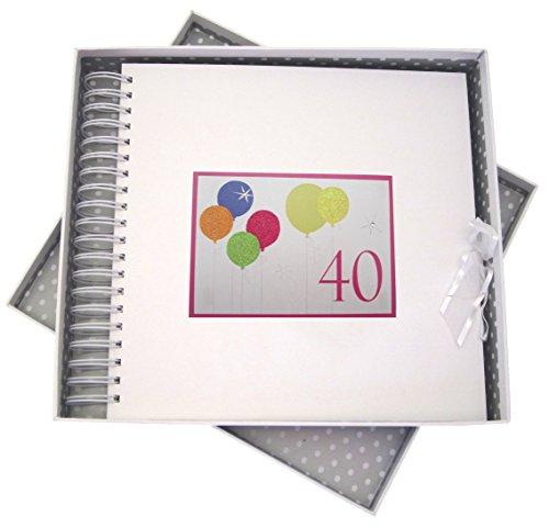 White Cotton Cards Carte d'anniversaire 40 Ans et mémoire Livre avec Ballons Fluo à Paillettes, Blanc