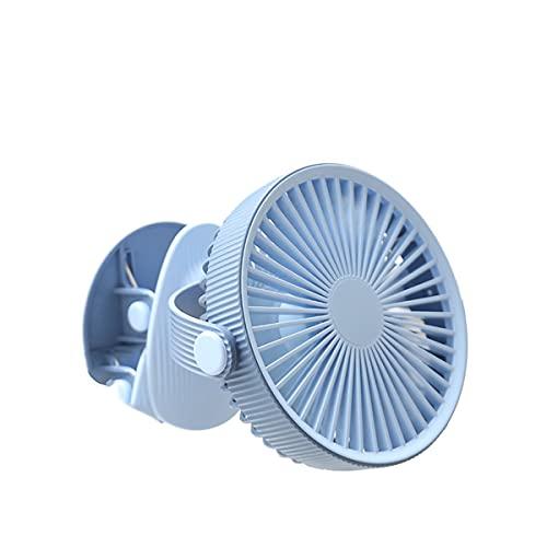 Ventilador USB, Portatil Mini Ventilador Silencioso, 3 Velocidades Potente Pinza Ventiladores Pequeño de Mesa con Recargable Batería y Cable USB para Oficina, Hogar, Fitness, Cochecito de Bebé,Azul
