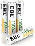 EBL 4 Piezas 1100mAh AAA 1,2V Pilas Recargables Ni-MH 1200 Ciclo Alta Capacidad para Juguete Flash Mando Teléfono Fijo GPS Exterior