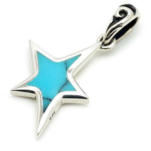 [シルバーワン] ターコイズ シルバー925 ブルー スター 星ペンダントトップ ネックレス メンズ se