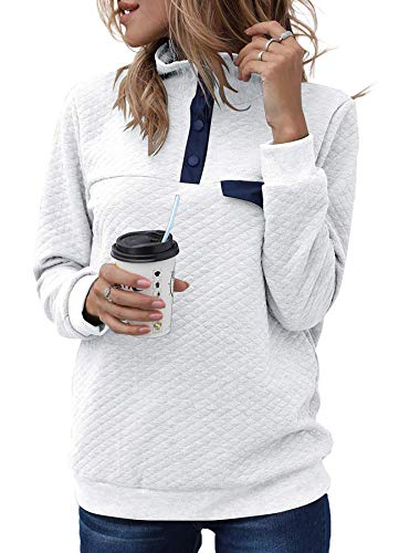CALOER Women's Button Neck Quilted Pullover Sweatshirts Patchwork Elbow Patches Tops Outwear White X-Large