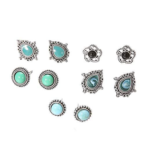 Damen Ohrstecker Vintage Türkis Ohrringe Set Retro Böhmen Ohrringe Elegant Edelstahl Schmuck für Frauen