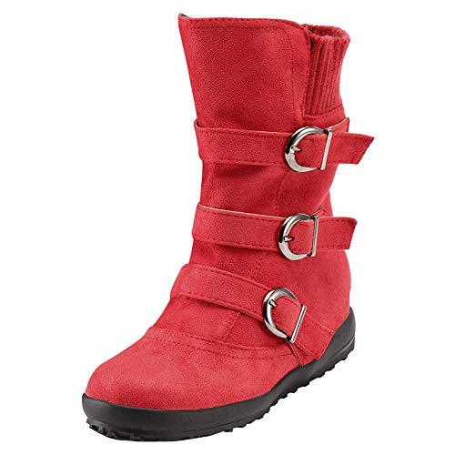 DAIFINEY Damen Winterstiefel Retro Hohe Stiefel Halbstiefel Stiefelette Bootie Schlupfstiefel Schneestiefel Winterschuhe(1-Rot/Red,36)