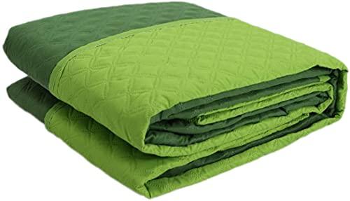 Corredocasa Trapuntino Copriletto Trapuntato Primaverile Bicolore Doubleface per Letto Singolo Una Piazza (Verde)