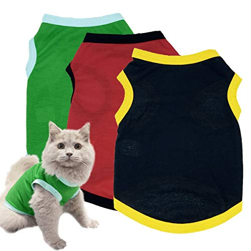 Dog Shirts Pet Clothes Blank Clothing, 3pcs Puppy Vest T-Shirts Cat Apparel Vests Cotton Doggy Shirt Soft and Breathable Outfits for Small Extra Small Medium Large Extra Large Dogs (M)