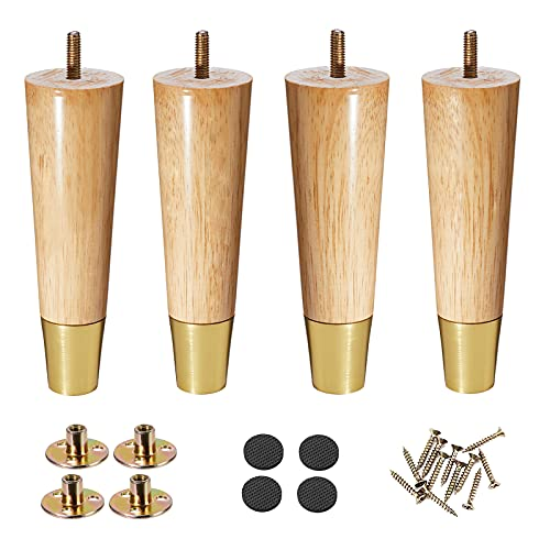 Wood Furniture Legs, 10 inch Couch Legs, Sofa Legs Set of 4 for Furniture, Mid Century Desk Legs, Replacement Legs for Couch Dresser Sideboard Recliner Couch Circle Chair
