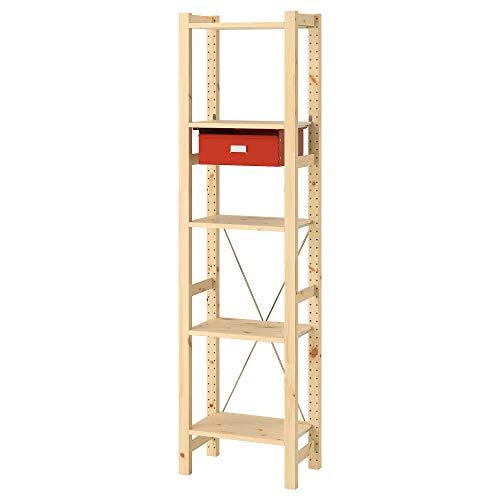 IVAR 1 sección/estantes/cajones 48x30x179 cm pino/rojo