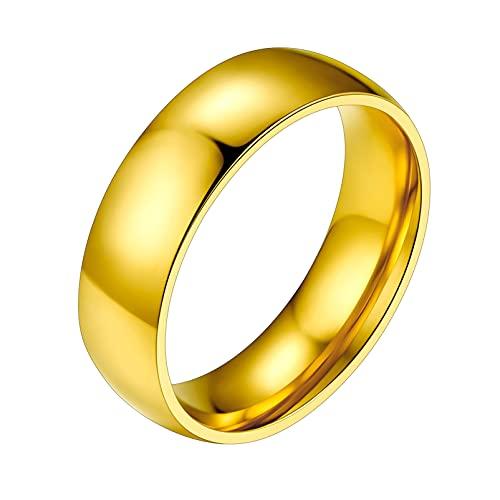 PROSTEEL Anello Solitario Lucido Semplice da Donna/Uomo, Placcato Oro, Oro, Fede Nuziale da Matrimonio, Confezione Regalo, US 08 IT 17(Default)