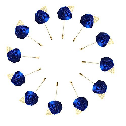 WeddingBobDIY 12Pieces/lot Groom Boutonniere Wedding Silk Rose(3.5cm) Flowers Accessories Prom Pin Man Suit Decoration Royal Blue