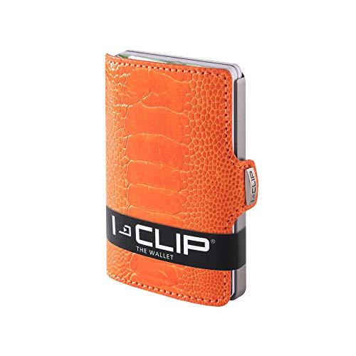 I-CLIP ® Cartera-Exclusivo Piel De Avestruz (Pie) Naranja (Disponible En 5 Variantes)