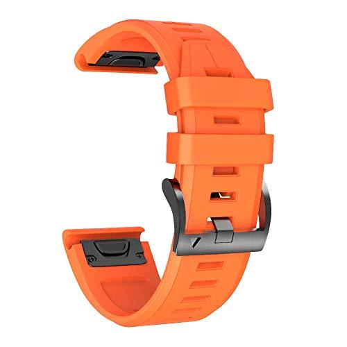 NotoCity Bracelet de Montre Souple en Silicone Compatible Fenix 5 de 22cm de Large,Compatible Garmin Fenix 5/Fenix 5 Plus/Forerunner 935/Approach S60/Quatix 5(Orange)
