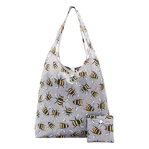 Eco Chic Lightweight Foldable Backpack (Bees Grey)