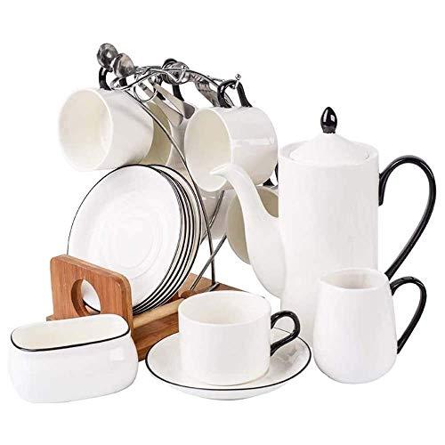 XiYou Juego de platillo para Taza de café con 10 Piezas, Juego de té de Porcelana con Tetera y portavasos, Juego de Taza y platillo de Estilo nórdico Minimalista, Regalo