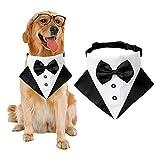Bandana per cani da smoking formale per cani e cani, con papillon regolabile, per cani di taglia piccola, media e grande