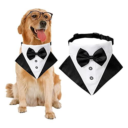 Formales Hunde-Smoking-Bandana-Hundehochzeits-Bandana-Halsband Hundehalsband mit Fliege Verstellbares Hundefliege-Halsband Bandana für kleine mittelgroße Hunde (Schwarz, L)