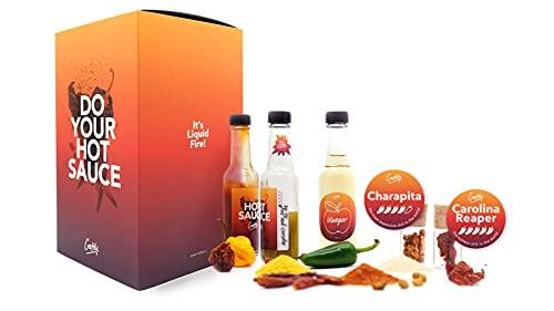DIY Hot-Sauce Gourmet Set | Regalo perfetto per il Fai da te con 5 peperoncini, 3 spezie per salse BBQ | Il peperoncino più caldo e costoso del mondo: Carolina Reaper & Aji Charapita