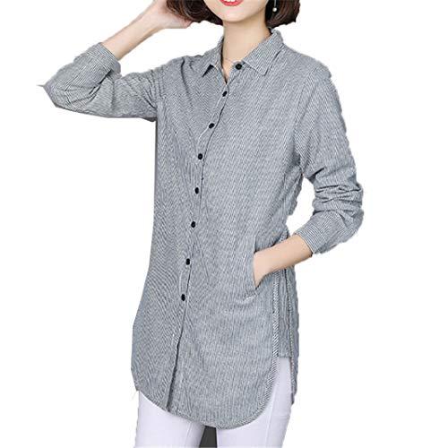 Frauen Gestreifte Bluse Shirts FrüHling Herbst Weibliche Mode Kleidung Asymmetrische Umlegekragen Elegante Dame Arbeit Langarmshirts