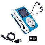 Mini Reproductor MP3 con Pantalla LCD y Enganche de Clip + Tarjeta de 4Gb + Cable de Carga + Auricular Blanco, Music Player Azul