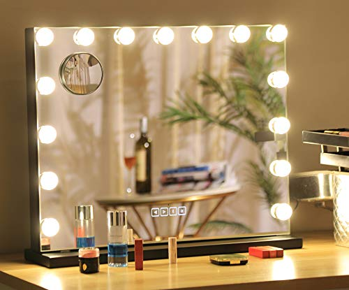 Hansong Large Bluetooth Vanity Makeup Mirror with Lights,Hollywood Lighted Dressing Tabletop Mirror&Wall -