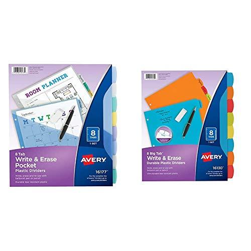 Avery 8-Tab Plastic Binder Dividers with Pockets, Write & Erase Multicolor Big Tabs, 1 Set (16177) & 16130 Big Tab Write & Erase Durable Plastic Dividers, 8 Multicolor Tabs, 1 Set