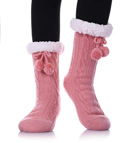 YEBING Women's Diamond Cable Knit Super Soft Warm Cozy Fuzzy Fleece-lined Winter Slipper Socks (Twist Pattern - Pink)