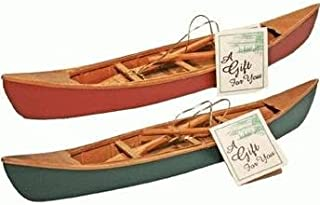 Hand-Crafted Wooden Canoe with Paddles Miniature Replica (1-pc) 11-inch