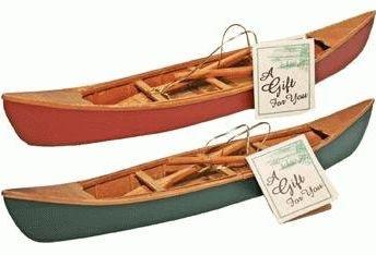 Hecho a mano de madera canoa con paletas réplica en miniatura (1 pc) 27,94 cm