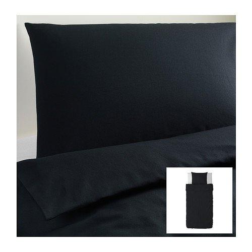IKEA(イケア) DVALA ブラック 150x200/50x60 cm 60183704 掛け布団カバー&枕カバー、ブラック