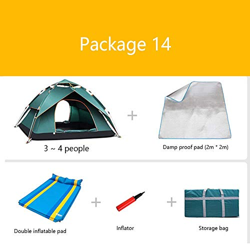 LLSS Package Camping Tents Inflatable Mattress Inflatable Pump Barbecue Pad Insulation Pads Thick Rain 3-4 People Camping Outdoor Mountaineering Expeditions Beach Tent,13