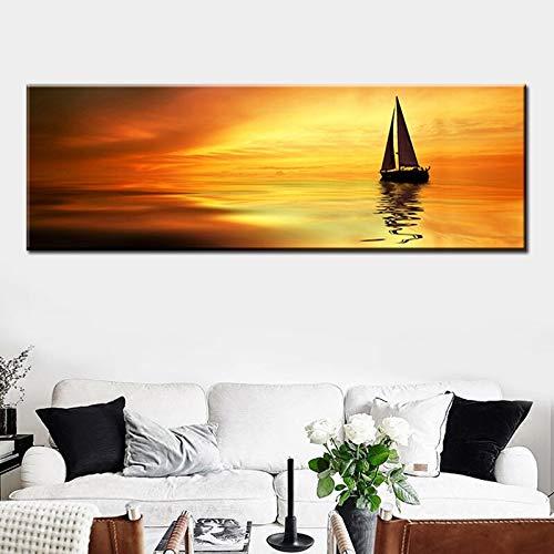 N / A Sonnenuntergang Boot auf dem Meer Horizont Leinwand Wandkunst Poster und Drucke Wandbilder Wohnzimmer Salon Schönheit rahmenlose Malerei 60cmX180cm