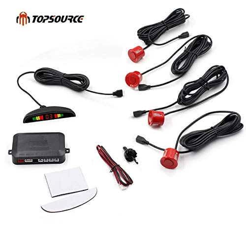 Best Deals! Red : Car Auto Led Parking Sensor Parktronic Display 4 Sensors Reverse Backup Assistance...
