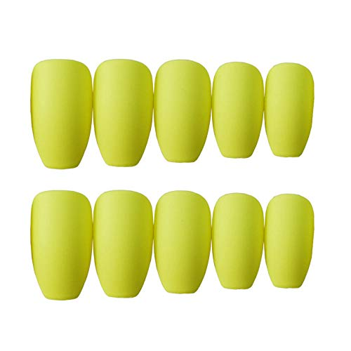 CSCH Faux ongles 24 pcs Matte Frosted Fake Nail Pure Color Patch Nail Art French Style DIY False Nail Decoration Easy to Wear Fake Nail Art 98