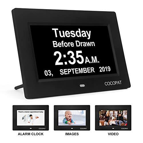 Dementia Digital Day Week Clock - 19 Alarms Am/Pm Clock with USB Charger Port, SD Card Support Play Picture, Video, Large Display for...