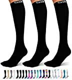 SB SOX 3-Pair Compression Socks (15-20mmHg) for Men & Women – Great Quality Comfortable Socks, Easy to Put On – Best Socks for Daily/Any Use, Running, Nurse, Travel (01 – Solid Black, Large/X-Large)