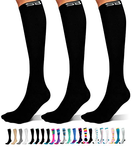 SB SOX 3-Pair Compression Socks (15-20mmHg) for Men & Women – Great Quality Comfortable Socks, Easy to Put On – Best Socks for Daily/Any Use, Running, Nurse, Travel (01 – Solid Black, Small/Medium)