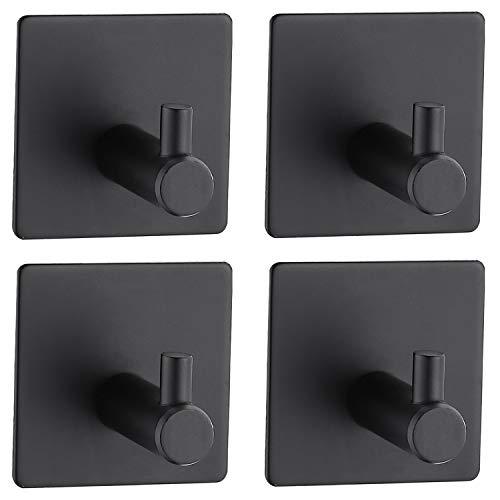 Auralum 4 Stk. Handtuchhaken Selbstklebend Mehrzweckhaken Wandhaken schwarz, Bademantelhaken ohne Bohren wandmontage Klebehaken aus Edelstahl fürs Bad