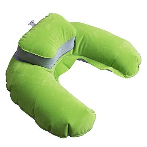 La mejor almohada de viaje plegable en forma de U, almohada para el cuello y la cabeza, cojín suave de aire para viajes en avión de viaje, almohada de cuello de viaje (color: B)