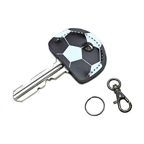 レザー キーカバー サッカー フットサル 本体 黒×ホワイト 牛革 ーキャップ 鍵の識別 鍵の番号 NO. 隠しに