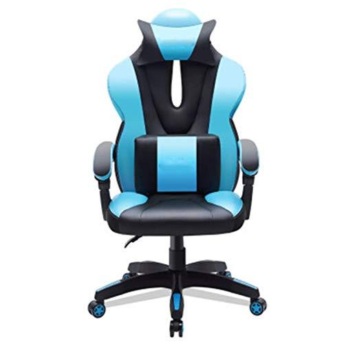 GLMAS Sillas, sillas de oficina, sillones, silla de juegos, silla de oficina ajustable, respaldo alto, rotación de 360 grados, patas de nailon, Material, azul, Size