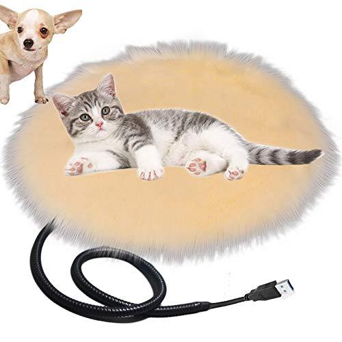 Queta Alfombrilla Calefactora para Gatos Perros Mascotas, Manta Calefactora USB Recargable para Perros Gatos Innovadores Alfombrilla Calefactora, Diametro: 40cm Temperatura: 28°C (Beige)