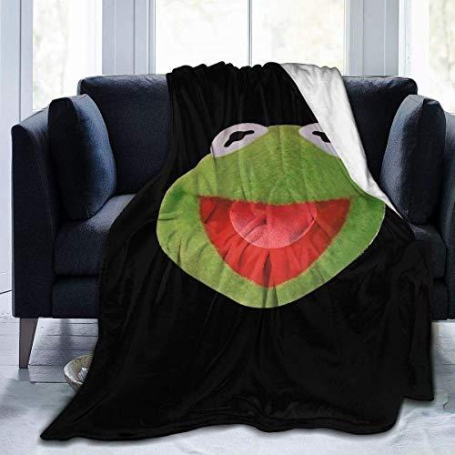 Kermit The Frog Face Manta de Franela Ultra Suave para sofá Cama, Sala de Estar, Dormitorio, multifunción, Ligera, Manta Ligera, 50 'X 40'