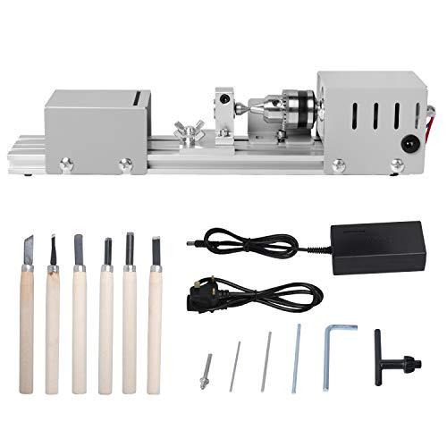 Mini Lathe Machine, Mini Bead Polisher Machine, CNC Machining for Table Woodworking Wood DIY Tool Lathe by Poweka