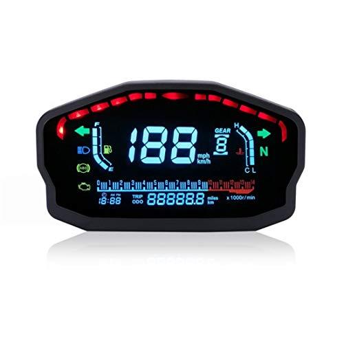 Motorcycle Speedometer Gauge, WaterproofMotorcycle LED LCD Speedometer Digital Odometer Backlight for 1, 2,4 Cylinders
